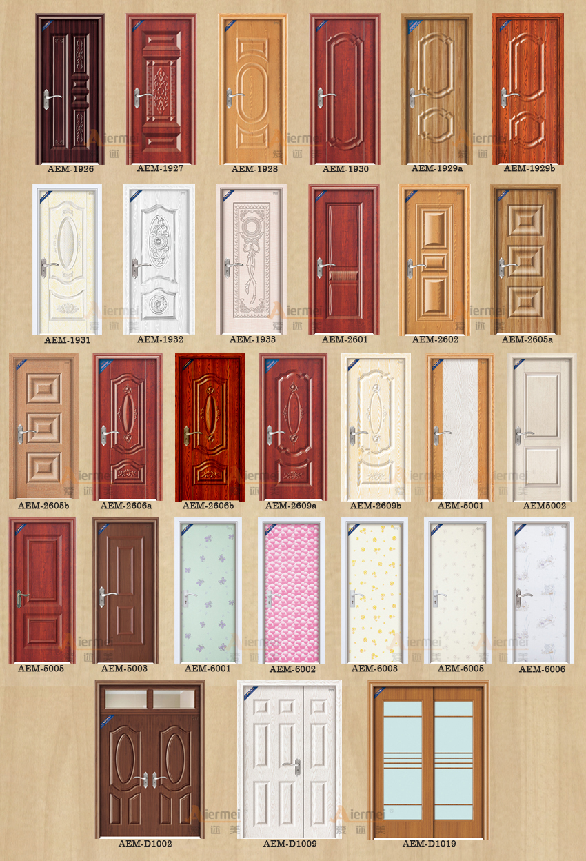 Manufacturer latest design pvc coating steel wood door for Door design in pakistan