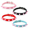 Collars for small dogs Pink Studs leather small dog collar