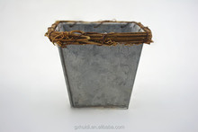 Square Metal flower pot with tie the grass garden planter metal container