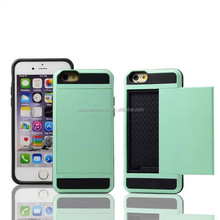 Card holder 2 in 1 cellphone skin case for apple iphone 6 China supplier