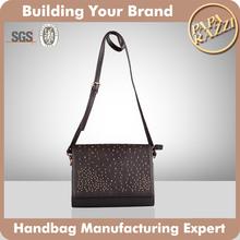3538-Hot sale luxury fashion ladies' genuine leather shoulder bag stylish rivet
