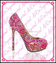 Aidocrystal milan fashion party 14cm rhinestone high heels,ladies beautiful flower crystal shoes