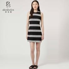 2015 Fashion classics black & white striped lace shift ladies dress