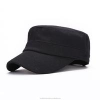 2015 fashion plain black military caps/cotton flat top korean cap