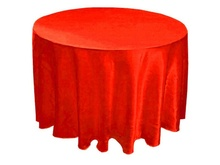 2014 China manufactures Multi used hot sale embroidery designs wholesale round satin tablecloth for wedding
