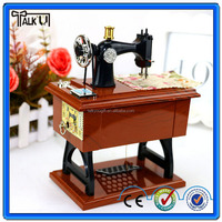 Novelty miniature craft sewing machine music box for kids, retro electric wooden sewing machine musical box