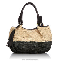 Lelany 2014 hot selling lady crochet tote bag straw woven handbag
