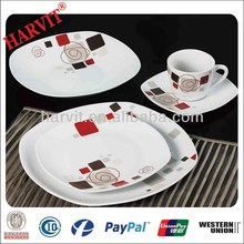 China Products Hot Wholesale 20pcs Porcelain Dinner Set/Hunan Crockery Items Dinner Sets/Modern Square Dinner Set