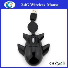 Airplane shape mouse brand name computer mouse with retracted cable