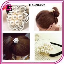 elastic flower hair tie with plastic pearl material