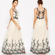 100% Polyamide OEM Wholesale sleeveless embroidered full tulle long lace evening dress