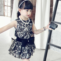 Pink ideal manufacturer wholesale han edition girl's skirt Two color temperament lace sleeveless dresses