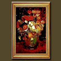 Handmade Vincent van Gogh impressionist flower oil painting, Vase with Daisies and Anemones