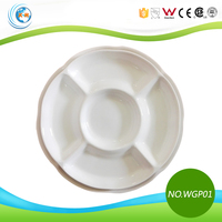 Restaurant White Porcelain 5 Compartment Plate
