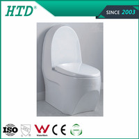 Hot sale western design one piece sanitary ware toilet with slowly down seat cover ---HTD-MA-2075