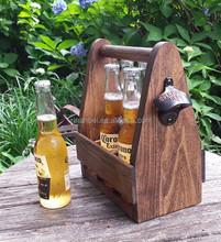 Accept OEM rustic varnish antique wooden beer carrier,6 bottle wood tote