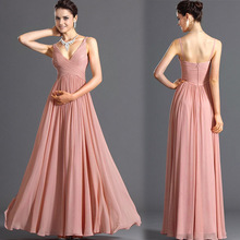 hot sale elegant sleeveless women long dress deep V backless sexy chiffon evening/party dress bridesmaid dresses