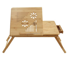 beautidul pattern 100% Bamboo Portable Laptop Desk/Table Foldable Breakfast Serving Bed Tray w' Tilting Top/Drawer