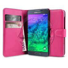 Credit Card Holder Lychee Grain Folio Flip Leather Wallet Case Cover For Samsung Galaxy Alpha G850F
