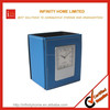 Best sale fashion office school leather pen box with clock