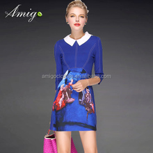 blue collar turn down mid sleeve cusual dress fashion casual dress wholesale