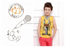 factory wholesale 100% cotton coral blue yellow boy sleeveless child kids brand t-shirt wholesale with hood