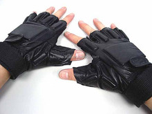 airsoft gun shooting gloves half finger black leather tactical gear