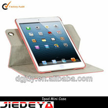 Pink swivel PU leather tablet pc cover for ipad.