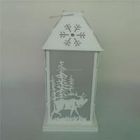 Deer pattern Christmas wood candle holder