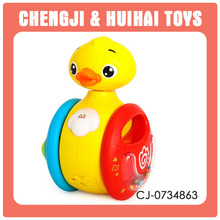 Eco-Friendly Material plastic baby toy yoyo yellow duck rattle