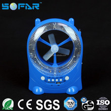 Multi-function table plastic rechargeable large battery powered fan with light and FM radio