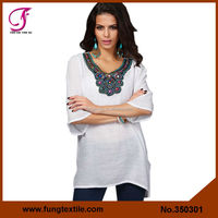 350301 Newest Style Woman Summer Cotton White Embroidery Kaftan Tops