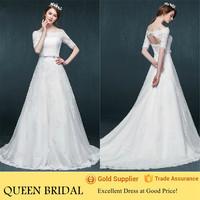 Newest A Line Off the Shoulder Long Sleeved Wedding Dresses 2015