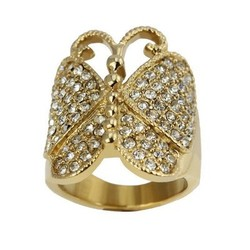 Fancy Paved Cubic Zircon Plating Yellow Gold Butterfly Ring for Women