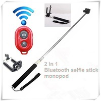 selfie stick with bluetooth shutter button,2 in 1bluetooth selfie stick monopod for smartphone