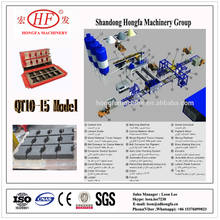 Large EPS concrete brick making machine , QT10-15 full automatic hydraulic insulation concrete block production line