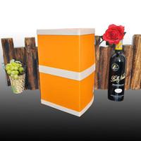 orange custom leather wine gift box