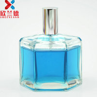 best selling product 100ml hexagon clear glass perfume spray bottle