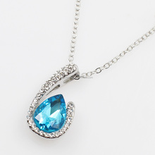 White Gold Plated Simple O Shaped Water Drop Blue Crystal Pendant Necklace