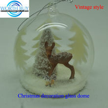 Fawn & Christmas tree under winter globe ornament for Christmas decoration