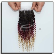 wholesale price 100 human hairs 1B 99j 27 omber color human hair mongolian hair kinky curly lace closures