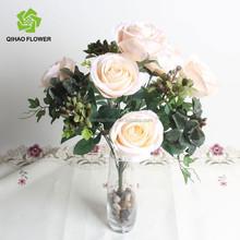 12 flores artificial botão de rosa buquê para decoração de casamento