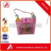 pink felt girls' handbag with castle image