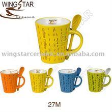 12oz ceramic coffee mug with spoon in variety designs 27M