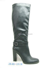 classic buckle strap thick heel riding boots