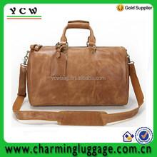 Top grade mens leather travel bag duffel gym bag
