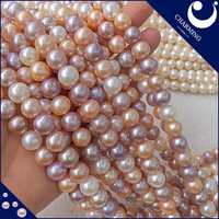 Wholesale Online, 10-11 mm Loose Freshwater Pearl Strand, Near Round Bead, Mixed Color, AAA Grade