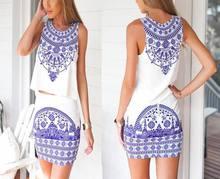 New Summer Two Pieces Bandage Women Dresses Cute Elegant Top Mini Bodycon Dresses