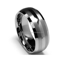 8mm Men's Wedding Engagement Band Tungsten Carbide Ring Two Tone MatteBrushed Finish Lines