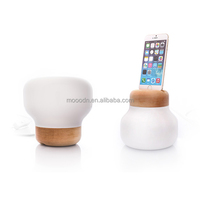 Modern Smart home Wood craft blown White Glass bottle E27 led Table Lamp with charger of iphone 6